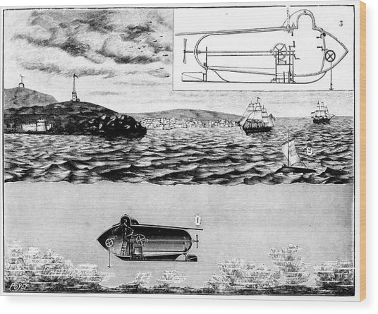 Fulton's Nautilus Submarine Wood Print by Universal History Archive/uig