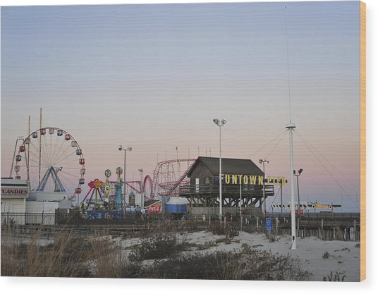 Fun At The Shore Seaside Park New Jersey Wood Print