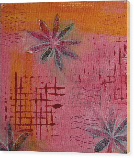 Fun Flowers In Pink And Orange 1 Wood Print