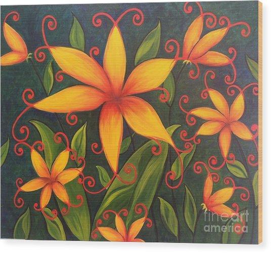 Fun Flowers Wood Print