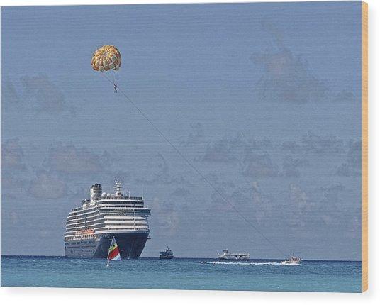 Fun In The Sun - Ship At Anchor Wood Print