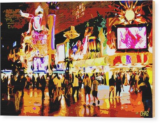 Fun Time In Old Las Vegas Wood Print