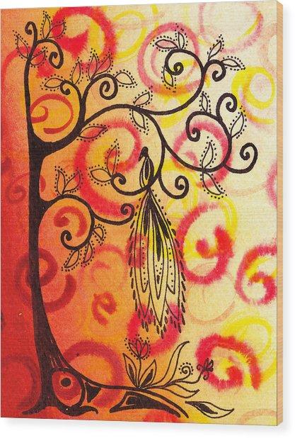 Fun Tree Of Life Impression II Wood Print
