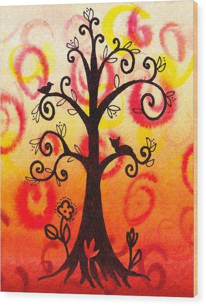 Fun Tree Of Life Impression V Wood Print