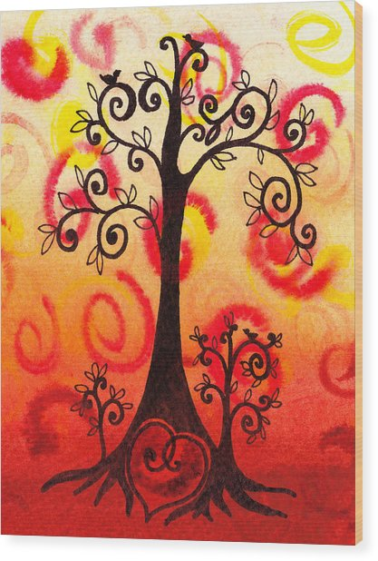 Fun Tree Of Life Impression Vi Wood Print