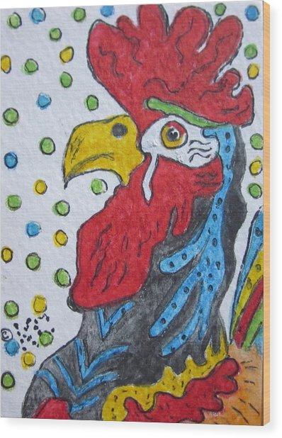 Funky Cartoon Rooster Wood Print