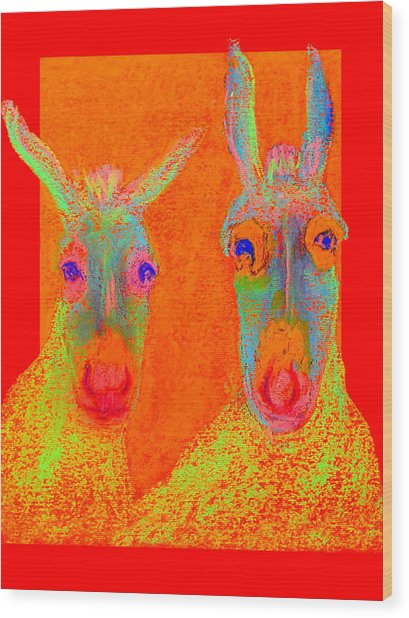 Funky Donkeys Art Prints Wood Print