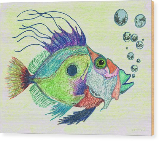 Funky Fish Art - By Sharon Cummings Wood Print