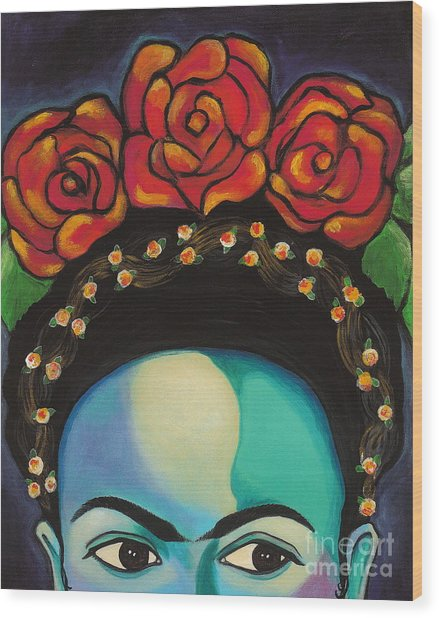 Wood Print featuring the painting Funky Frida by Carla Bank