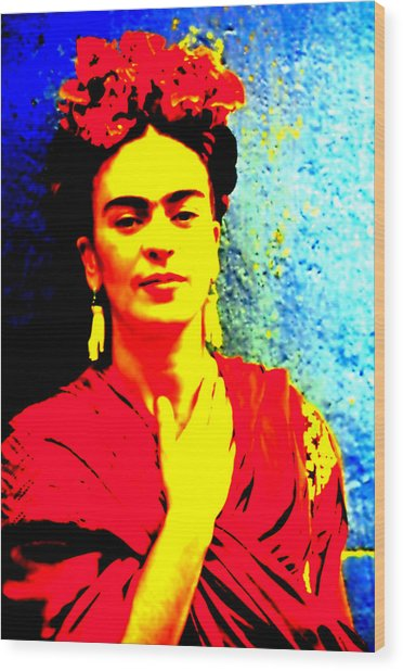 Wood Print featuring the mixed media Funky Frida IIi by Michelle Dallocchio