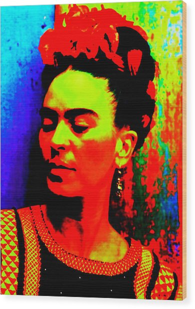 Wood Print featuring the mixed media Funky Frida by Michelle Dallocchio