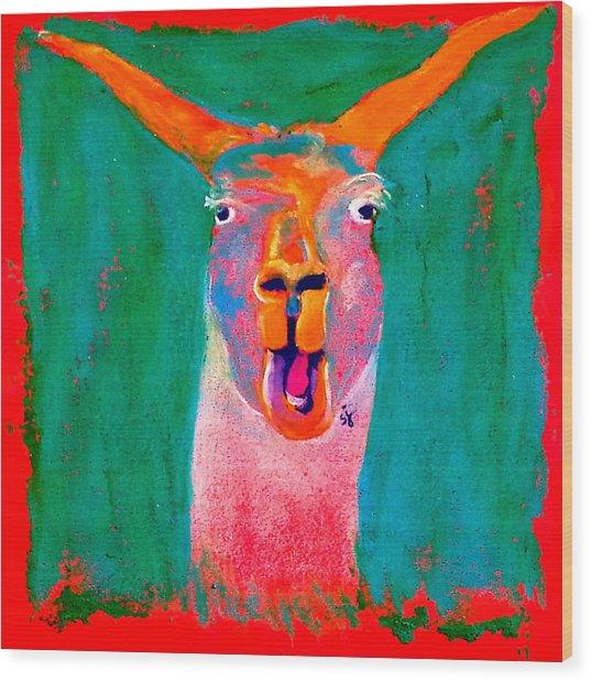 Funky Llama Art Print Wood Print
