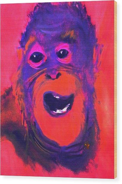 Funky Monkey Happy Chappy Wood Print