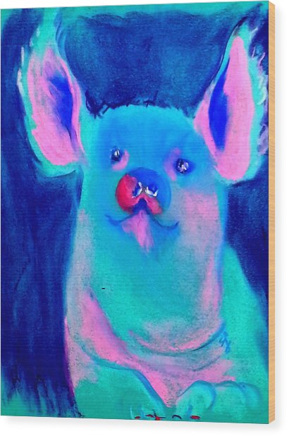 Funky Piggy Blue Wood Print