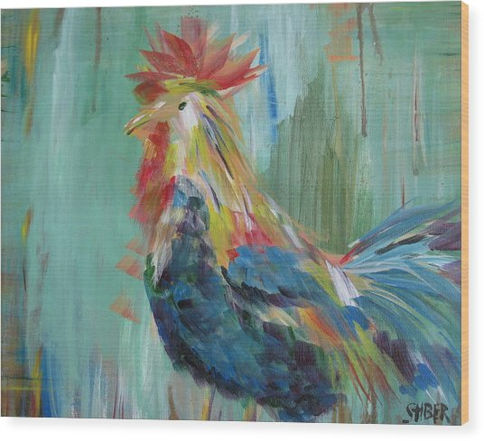 Funky Rooster Wood Print