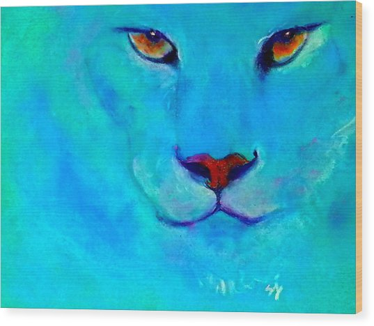 Funky Snow Leopard Turquoise Wood Print