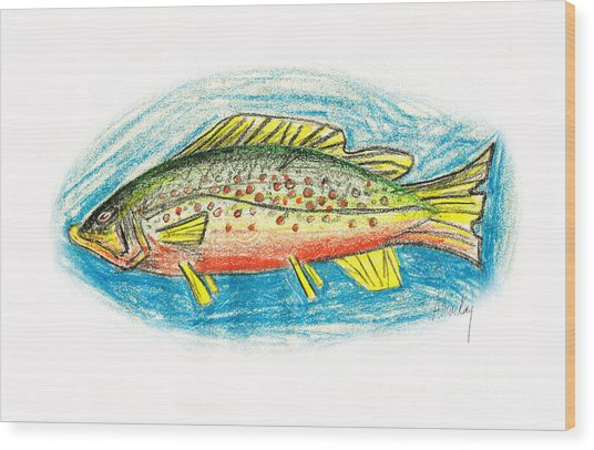Funky Trout Wood Print