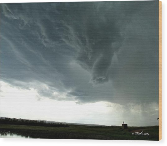 Funnel Cloud Wood Print
