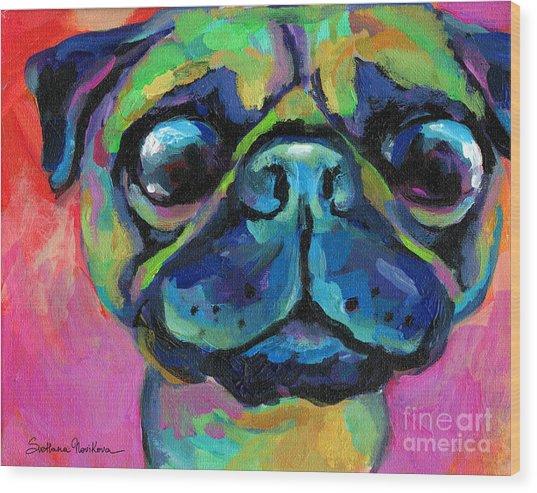 Funny Bug Eyed Pug  Wood Print