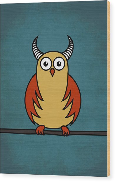 Funny Cartoon Horned Owl  Wood Print