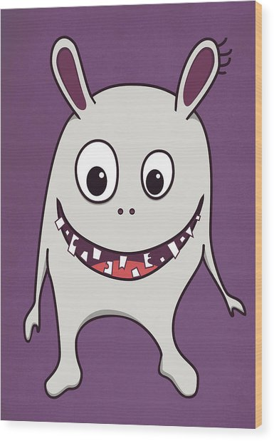 Funny Crazy Happy Monster Wood Print