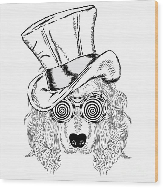 Funny Dog In An Unusual Hat And Wood Print