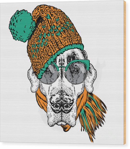 Funny Dog In Hat, Scarf And Glasses Wood Print