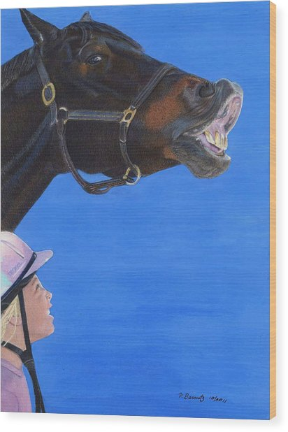 Funny Face - Horse And Child Wood Print