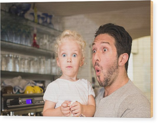 Funny Portrait Of Father And Daughter Wood Print by - Locrifa -