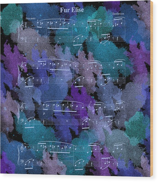 Fur Elise Music Digital Painting Wood Print