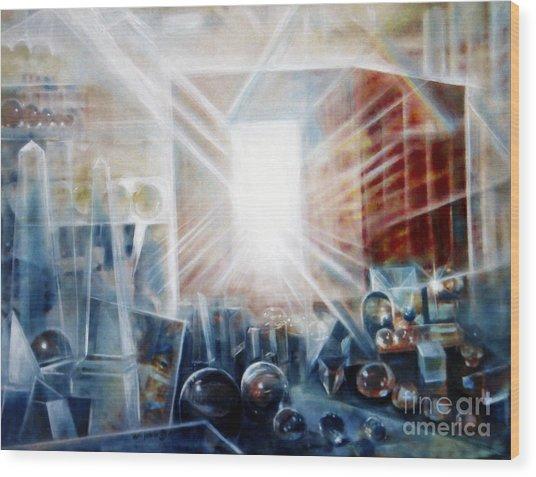 Future City #5 Wood Print by Yael Avi-Yonah