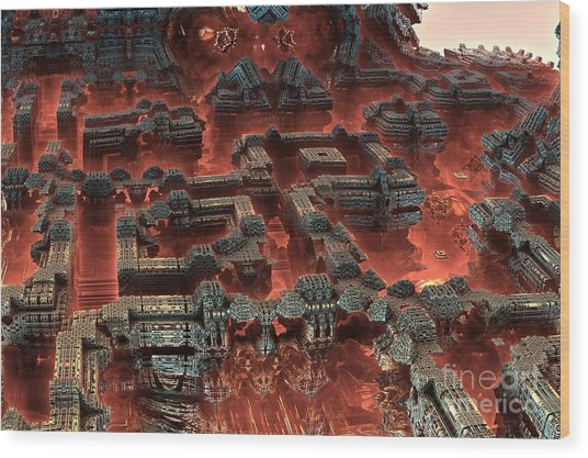 Future City In Red Wood Print by Bernard MICHEL