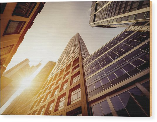 Futuristic Office Buildings Wood Print by Ppampicture