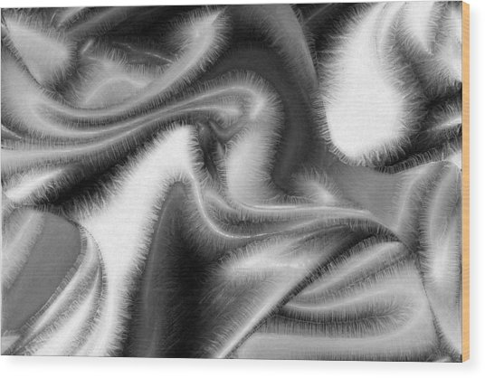 Fuzzy Things - Black And White Wood Print