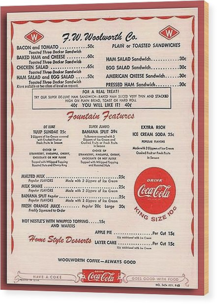 Fw Woolworth Lunch Counter Menu Wood Print