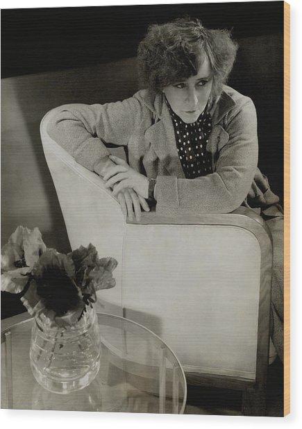 Gabrielle Sidonie Colette Sitting On An Armchair Wood Print