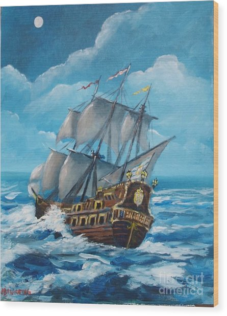 Galleon At Night Wood Print