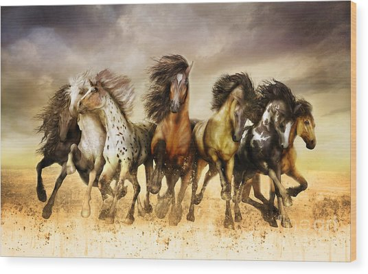 Galloping Horses Full Color Wood Print