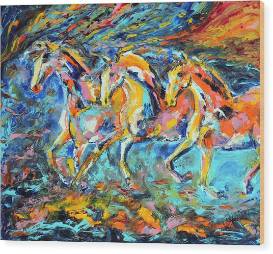 Galloping Sunset Wood Print