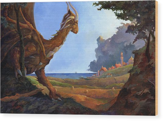 Galversharn The Dragon Looking For Her Eggs Wood Print by Storn Cook