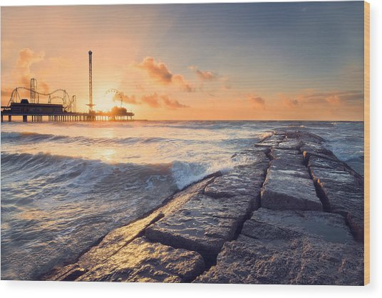 Galveston Sunrise Wood Print