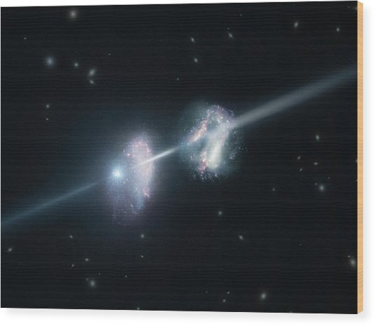 Gamma-ray Burst And Galaxies Wood Print by L. Calcada/european Southern Observatory/science Photo Library