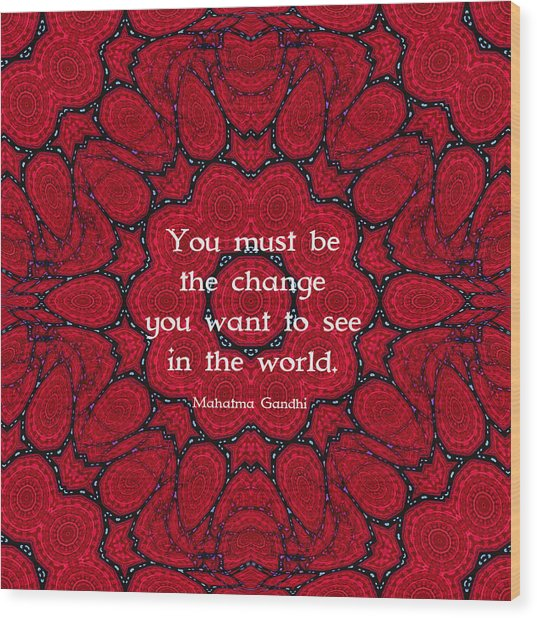 Gandhi Wisdom Quotation About Action Wood Print by Quintus Wolf