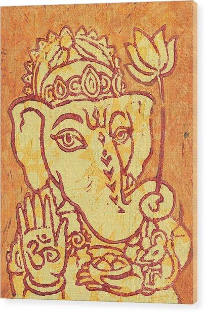 Ganesha Gold And Maroon Wood Print