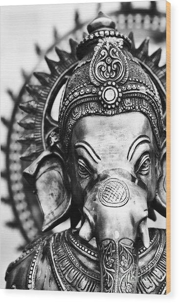Ganesha Monochrome Wood Print