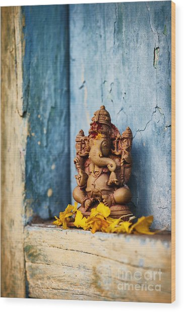 Ganesha Statue And Flower Petals Wood Print