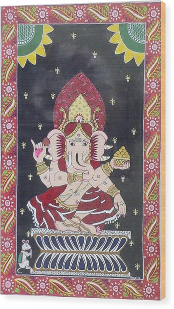 Ganesha The Hindu God Wood Print by Prasida Yerra