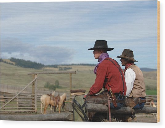 Gang Ranch Cowboys Wood Print by Lee Raine