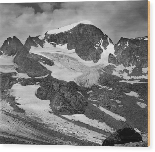 509427-bw-gannett Peak And Gooseneck Glacier, Wind Rivers Wood Print