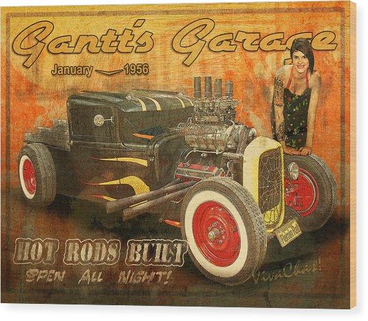 Gantt's Garage Open All Night Wood Print